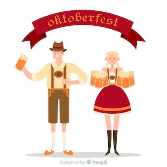 Gente feliz celebrando el oktoberfest con diseño plano