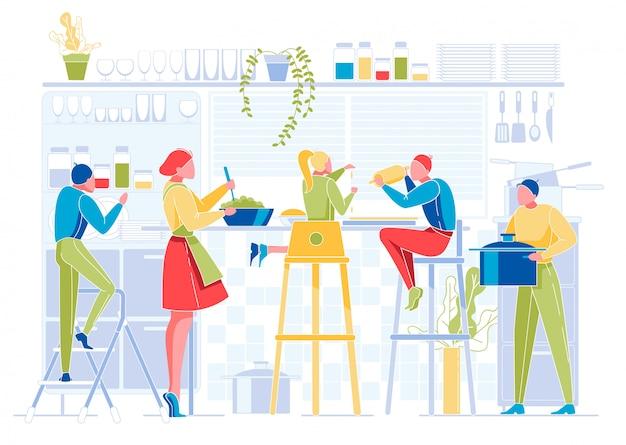 La gente feliz cocina en la cocina big family at home