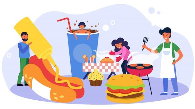 Gente feliz cocinando comida dulce y rápida