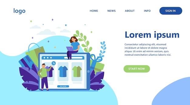 Gente feliz comprando ropa online