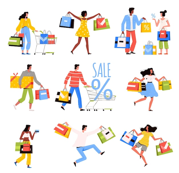 La gente feliz está comprando en la tienda.