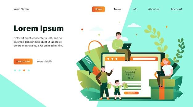 Gente feliz de compras online. cesta, tableta, ilustración de vector plano de cliente. diseño de sitio web de concepto de comercio electrónico y tecnología digital o página web de destino