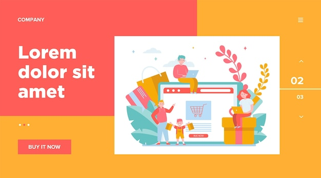 Gente feliz de compras online. cesta, tableta, plantilla web para clientes