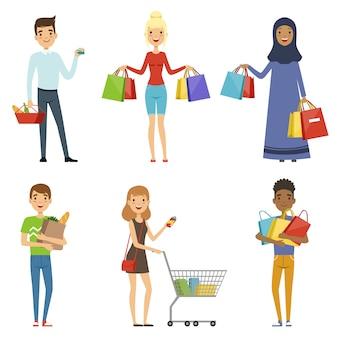 Gente feliz de diferentes naciones hace compras.