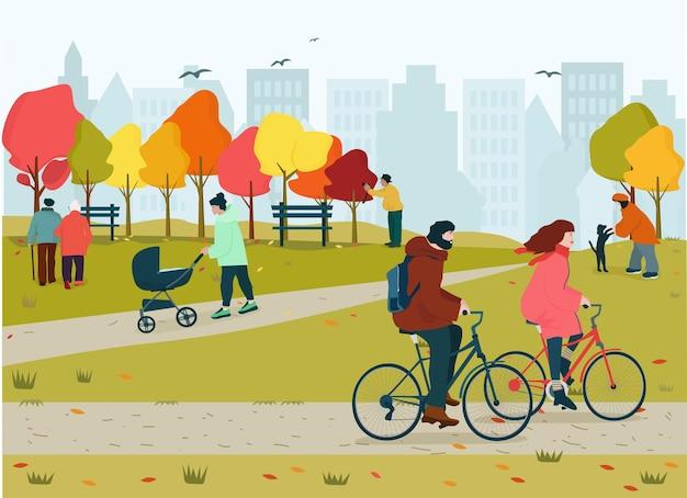La gente feliz disfruta del parque de otoño, caída de hojas, naturaleza. varios tipos de actividades al aire libre.