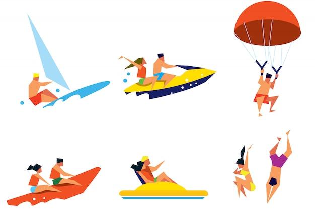 Gente feliz divirtiéndose en actividades de playa