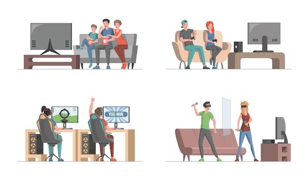 Gente feliz divirtiéndose jugando videojuegos