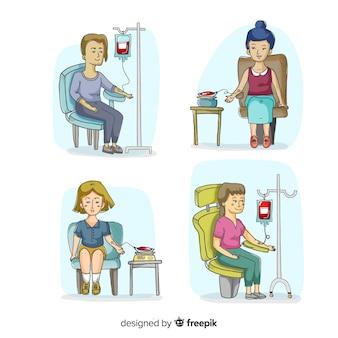 Gente feliz donando sangre