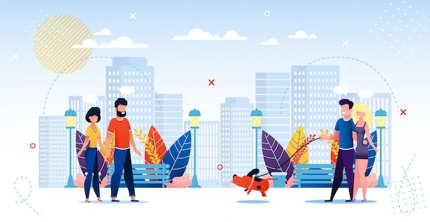 Gente feliz enamorada caminando por el parque de la ciudad