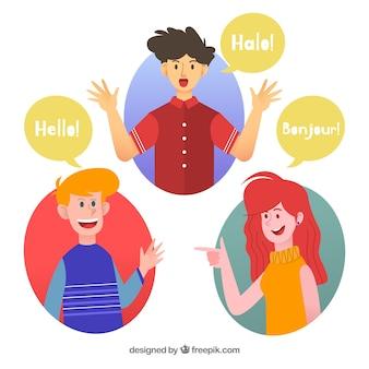 Gente feliz hablando diferentes idiomas