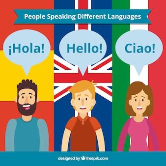 Gente feliz hablando distintos idiomas con diseño plano