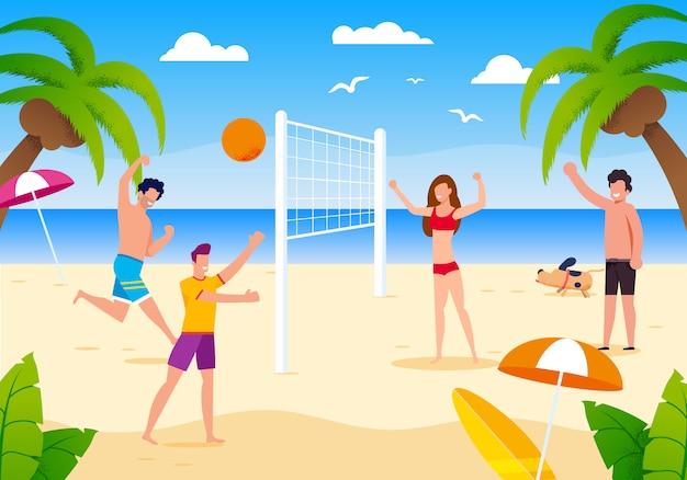 Gente feliz de la historieta que juega a voleibol de playa en la arena.