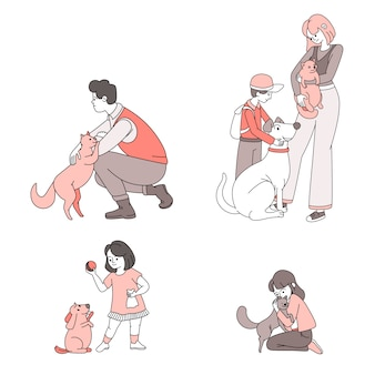 Gente feliz con la ilustración de dibujos animados de animales domésticos. personas cuidando y jugando con mascotas.