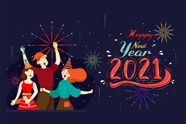 Gente feliz o trabajadores de oficina, los empleados tienen grandes números en 2021. grupo de amigos o equipo desea feliz navidad y feliz año nuevo