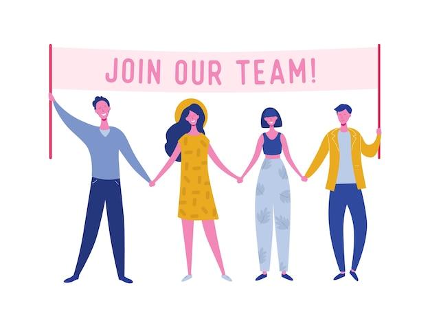 Gente feliz con pancarta de contratación, concepto de reclutamiento con personajes de personas, entrevista de agencia, únete a nuestro equipo. plantilla para página de destino web, presentación, redes sociales.