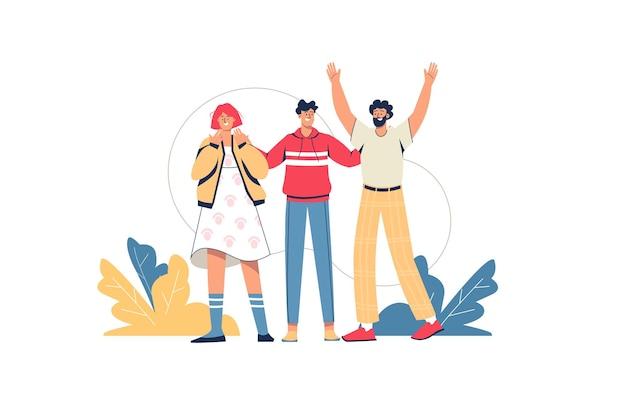 Gente feliz de pie juntos concepto web. jóvenes amigos abrazándose y sonriendo. hombres y mujeres saludando y gesticulando amigablemente, escena mínima de personas. ilustración de vector de diseño plano para sitio web