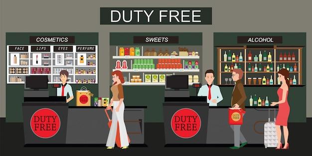 Gente feliz de pie en el mostrador en tienda libre de impuestos aislada en blanco