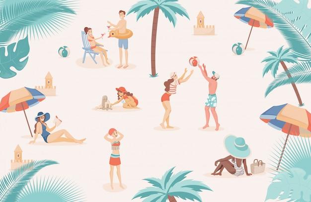 Gente feliz en la playa relajante, haciendo ilustración plana de actividades al aire libre de verano.