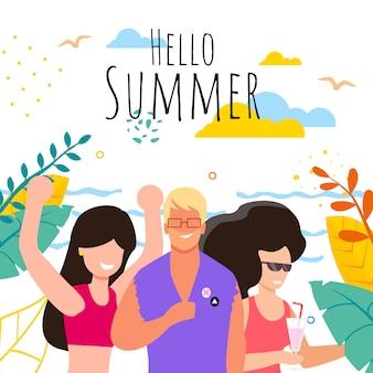 Gente feliz que da la bienvenida a las vacaciones de verano
