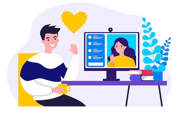 Gente feliz que data ilustración en línea