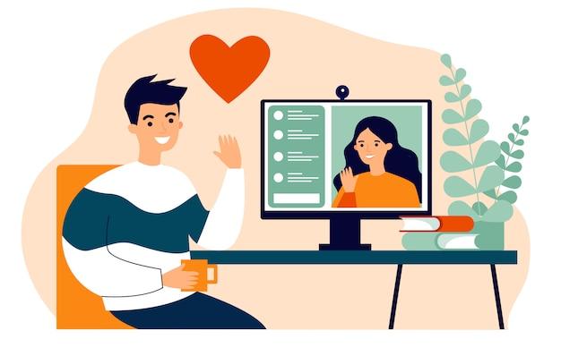 Gente feliz que data en línea ilustración vectorial plana