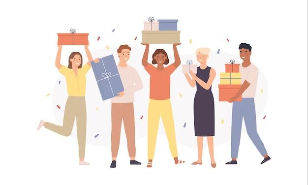 Gente feliz con regalos. mujeres y hombres divertidos con cajas de regalo con regalos, chicos jóvenes felicitan a un amigo, concepto de vector de fiesta de cumpleaños. personajes que tienen un evento festivo con confeti cayendo.