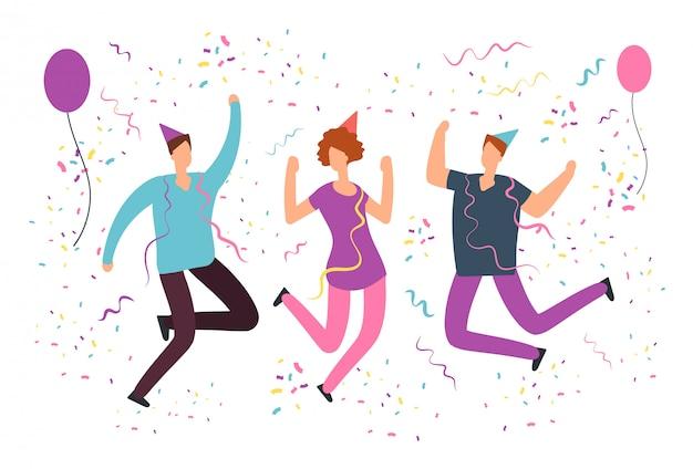 Gente feliz saltando con confeti cayendo, globos en fiesta de cumpleaños divertida