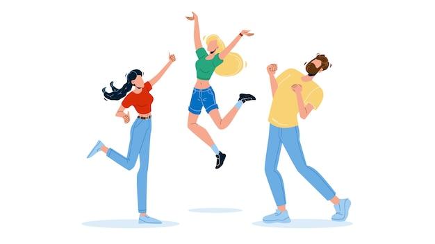 Gente feliz saltando entusiasmo emoción