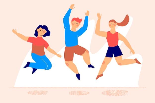 Gente feliz saltando evento del día de la juventud