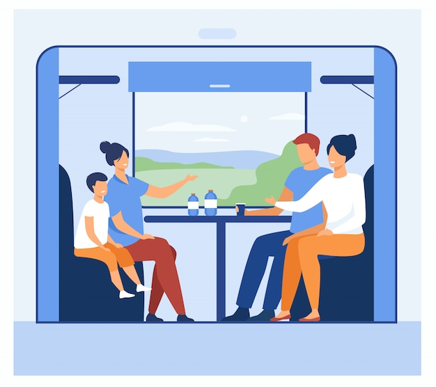 Gente feliz viajando en tren