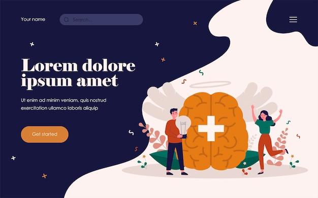 Gente feliz con visión positiva y filosofía de vida aislada ilustración vectorial plana. pensamiento abstracto y poder mental para mejorar la salud. concepto de estrategia de control del cerebro y los sueños