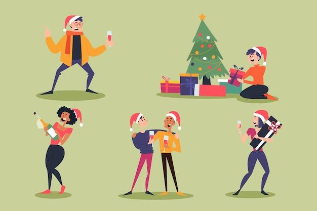 Gente feliz vistiendo ropa de navidad