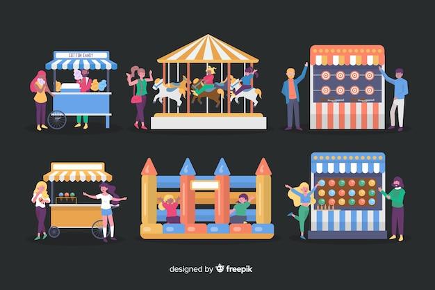 Gente en la feria de noche en diseño plano