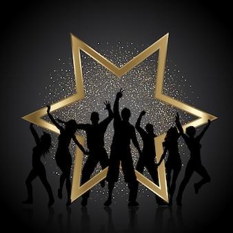 Gente de fiesta con brillo dorado y estrella