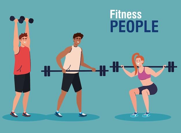 Gente fitness, grupo de jóvenes practicando ejercicio con pesas y barra de peso