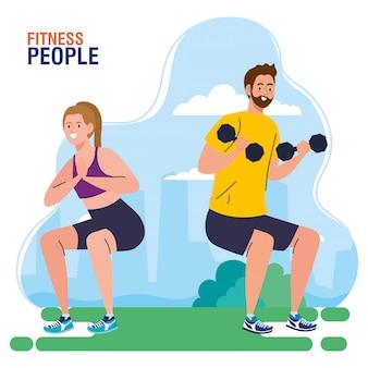 Gente de fitness, pareja haciendo ejercicio al aire libre, concepto de recreación deportiva