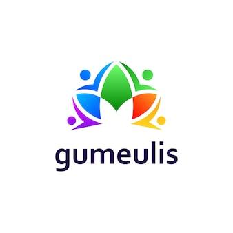 Gente y flor para el diseño del logotipo de la comunidad de yoga
