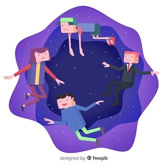 Gente flotando en el espacio