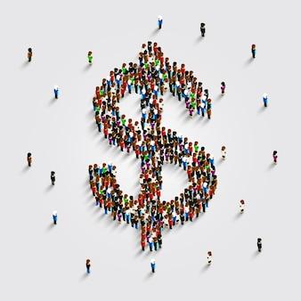 La gente se para en la forma de un símbolo de dinero en dólares. ilustración vectorial