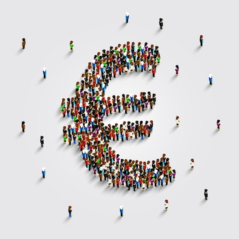 La gente se para en la forma de un símbolo de dinero euro. ilustración vectorial