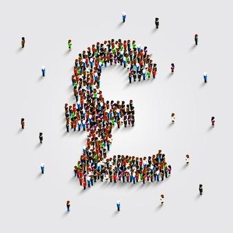 La gente se para en la forma de un símbolo de libra. ilustración vectorial