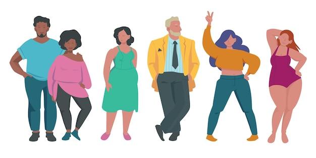 Gente gorda. conjunto de caracteres positivos para el cuerpo.