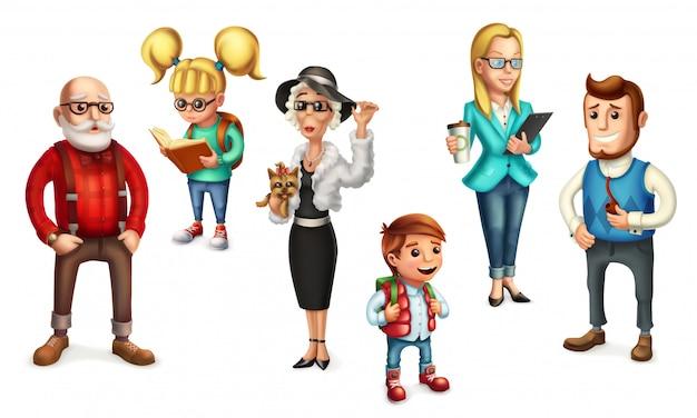 Gente graciosa. familia. padre, madre, abuela, abuelo, hijo, hija. conjunto de iconos 3d
