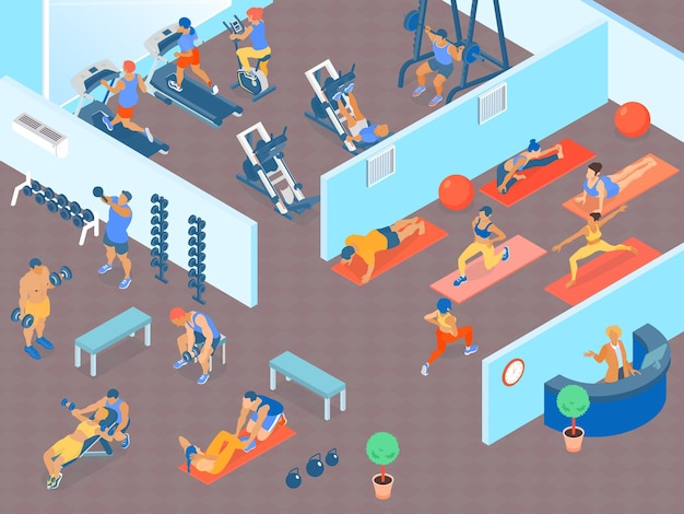 Gente en un gran gimnasio con áreas para ejercicios de pesas cardiovasculares y clases de fitness isométrica horizontal 3d