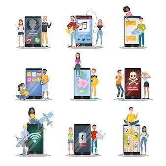 La gente en el gran teléfono móvil charlando y realiza el pago. idea de tecnología moderna. adicción a los teléfonos inteligentes. ilustración de vector de dibujos animados aislado