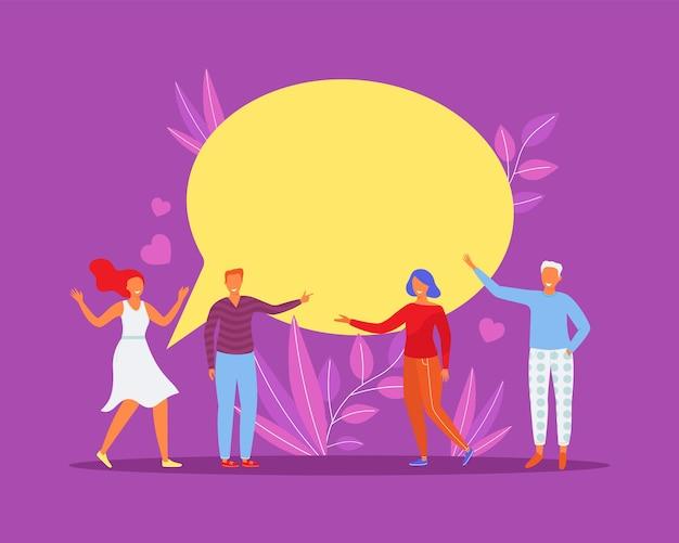 La gente habla en el chat, se comunica por mensaje, ilustración vectorial. carácter de mujer hombre hablando con bocadillo, concepto de mensajería feliz.