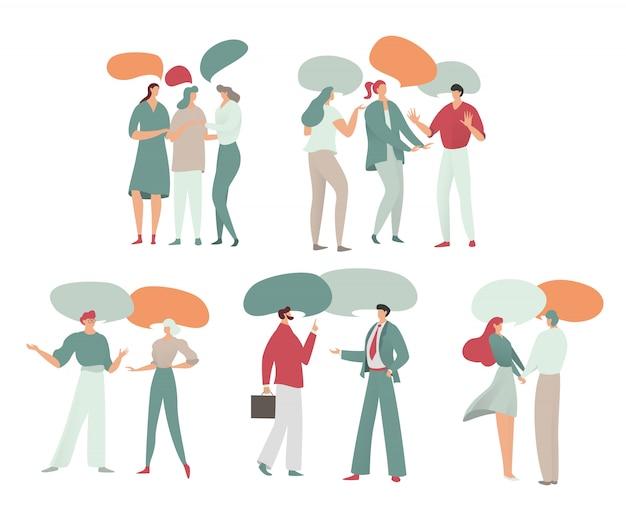 La gente habla, diálogo, chats, ilustración con personajes y burbujas de discurso vacías en blanco para chats de negocios, redes sociales, estilo.