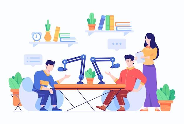 La gente habla y se entrevista en la ilustración de estilo de diseño plano de podcast