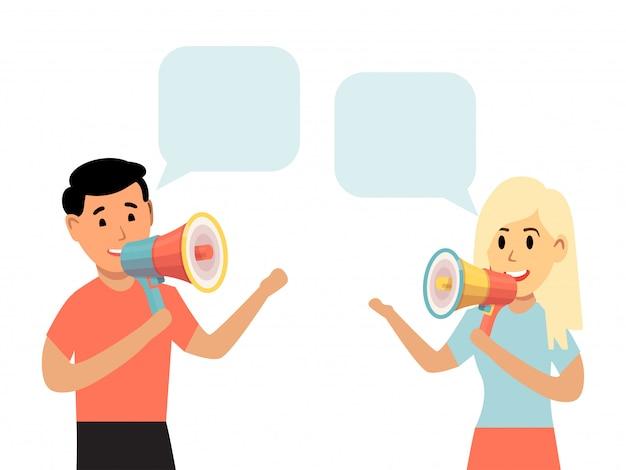 La gente habla megáfono, cuadro de chat aislado en blanco, ilustración. conversación fuerte personaje masculino femenino marco chismes de pie.