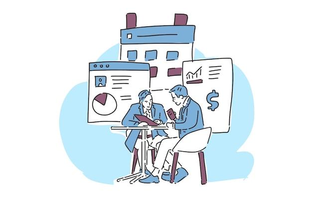 La gente habla de negocios ilustración mano dibujar